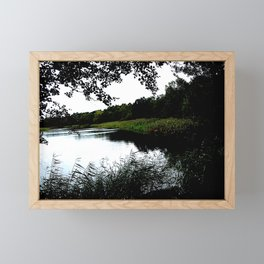 Riverside with trees and reed photo Framed Mini Art Print