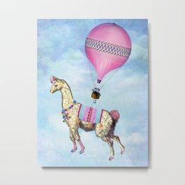 Flying Llama Metal Print