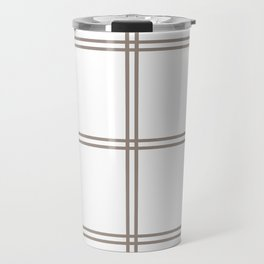 Brown checkered lines Travel Mug