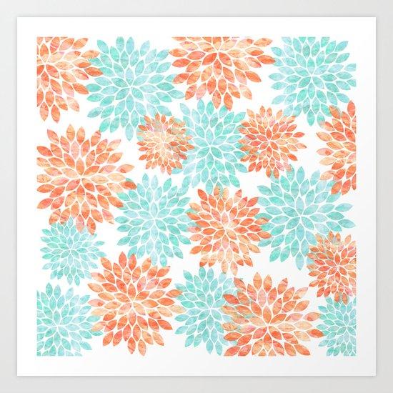 aqua and coral flowers Art Print