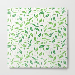 Tea leaves pattern Abstract Metal Print