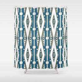 Abstract Geometric White Diamonds on Lapis Blue Print Shower Curtain