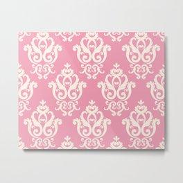 Romantic Pink and White Damask Pattern Metal Print
