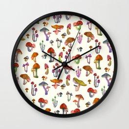 mini mushrooms Wall Clock