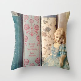 Library of Sense and Sensibility Throw Pillow