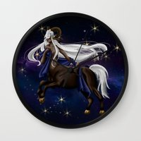 zodiac Wall Clocks featuring Zodiac by Aoi Hikari Arts