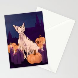 Halloween Sphynx - Candles and Pumpkins in Front of a Castle Stationery Cards