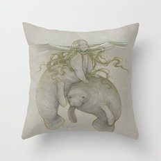 Manatee Mermaid 2014 Throw Pillow