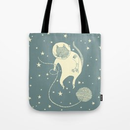 Sleepy Blue Space Cat Proves String Theory Tote Bag