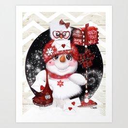 Santa Letter Delivery Snowman by Sheena Pike Art Print