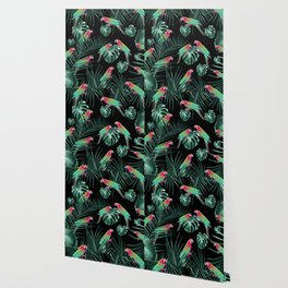 Parrots in the Tropical Jungle Night #1 #tropical #decor #art #society6 Wallpaper
