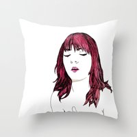 redhead Throw Pillows featuring Redhead by Margret Stewart