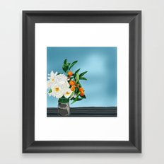 White Roses & Tangerines Framed Art Print
