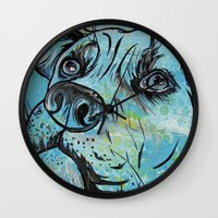 pit bull Wall Clocks featuring Blue Pit Bull Dog by WOOF Factory