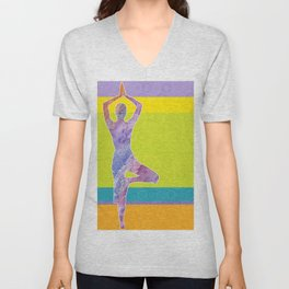 Drawing silhouette of woman doing yoga Unisex V-Neck