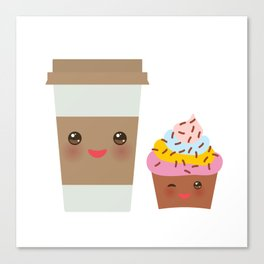 coffee in Paper thermo cup with brown cap and cup holder, chocolate cupcake. Kawaii Canvas Print