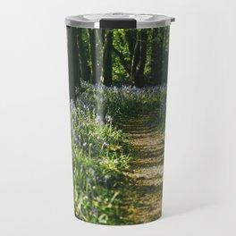 Path through wild Bluebells in ancient woodland. Wayland Wood, Norfolk, UK. Travel Mug