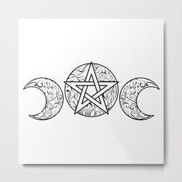 Line Art Pentagram Metal Print