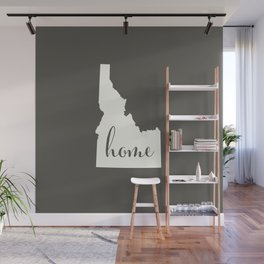 Idaho is Home - White on Charcoal Wall Mural