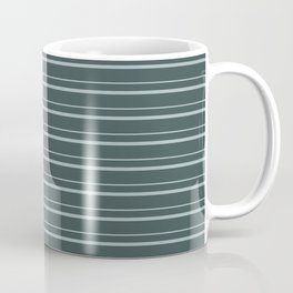 Blue Willow Green PPG1145-4 Horizontal Stripes Pattern 3 on Night Watch PPG1145-7 Coffee Mug
