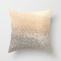 brown Throw Pillows featuring  GOLD by Monika Strigel