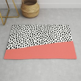 Dalmation Spots with Coral Stripe (Pantone Living Coral) Rug