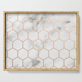Honeycomb Rose Gold Marble Serving Tray