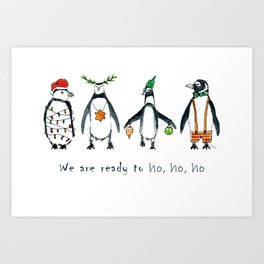 Christmas penguins ready to ho ho ho Art Print