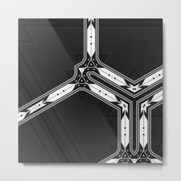 Abstract  Black and White Multi Pattern Metal Print