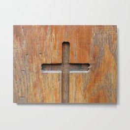 Cross Engraved Metal Print