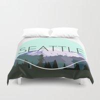 seattle Duvet Covers featuring SEATTLE by Lauren Jane Peterson