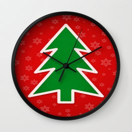 Christmas Tree on Red Background With Snowflakes Wall Clock