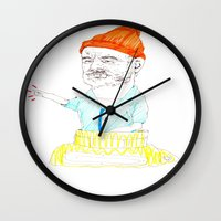 steve zissou Wall Clocks featuring steve zissou by withapencilinhand