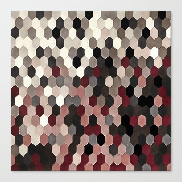 Hexagon Pattern In Gray and Burgundy Autumn Colors Leinwanddruck