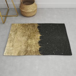 Faux Gold and Black Starry Night Brushstrokes Rug