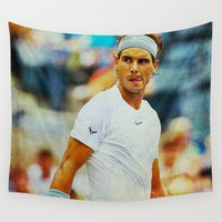 tennis Wall Tapestries featuring Nadal tennis by BixAri