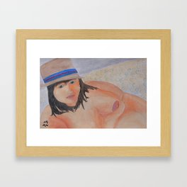 BBW On Couch Wearing Just A Summer Hat Framed Art Print