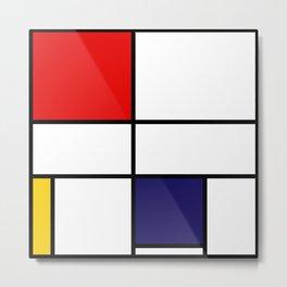 Mondrian De Stijl Modernist Inspired Abstract Art Metal Print