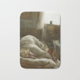 Morning Visitor Oil Painting Interior Sleeping Woman with Cat Bath Mat
