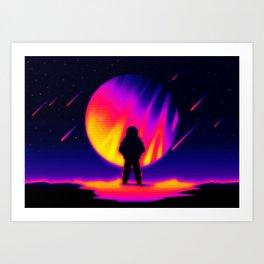 Retro Neon 80s Astronaut on Alien Planet Airbrush Art Art Print