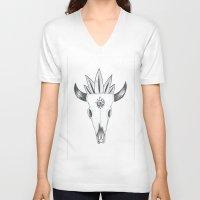 animal skull V-neck T-shirts featuring Longhorn Animal Skull by Madeleine Archambault