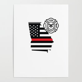 Georgia Firefighter Shield Thin Red Line Flag Poster