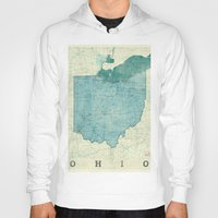 ohio state Hoodies featuring Ohio State Map Blue Vintage by City Art Posters