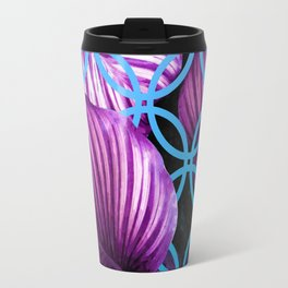 Purple Leaves Blue Geometric Travel Mug