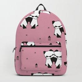 Hugging panda bears sweet geometric illustration print pink Backpack