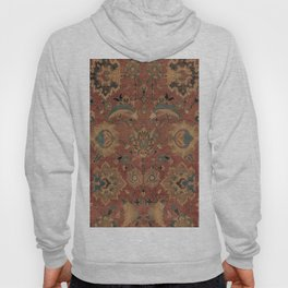 Flowery Boho Rug IV // 17th Century Distressed Colorful Red Navy Blue Burlap Tan Ornate Accent Patte Hoody