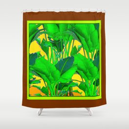 COFFEE BROWN TROPICAL GREEN & GOLD FOLIAGE ART Shower Curtain