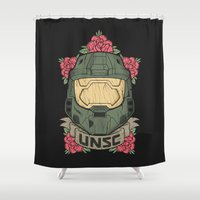 halo Shower Curtains featuring Halo UNSC by Daniel Mackey