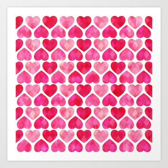 RUBY HEARTS Art Print