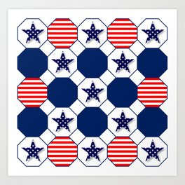 Nautical Patriotic Hexagons Art Print